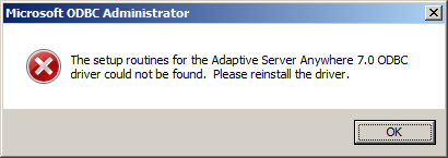 odbc administrator error reinstall driver - Database Driver not found error